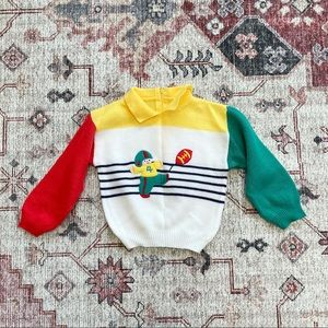 Vintage boys football collared colorblock sweater